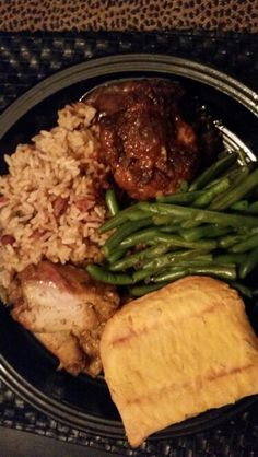 I made Oxtails Curry Chicken Rice Peas Stringbeans