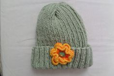 Hand Knit Warm Hat Crocheted flower accent Ribbed by HRStuff