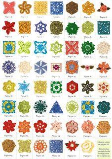 SOLO PUNTOS: crochet círculos, pentagonal, triangulos  ESQUEMAS