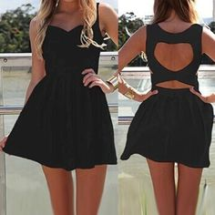 Sexy Sleeveless Sweetheart Neck Solid Color Hollow Out Women's Dress Club Dresses | RoseGal.com Mobile