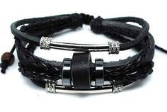 Black Bracelet Jewelry Bracelet Leather Bracelet Bracelet Cuff with Rings