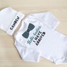 Newborn Baby Outfit. Hello Ladies I Have Arrived Baby Clothes. Coming Home Outfit. Newborn Boy Clothes. Baby Shower Gift.