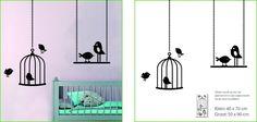 Muursticker vogel met kooitjes kinderkamer