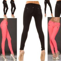 Stretch Jeans Jegings Röhrenhose,Skinny Hüfthose,Businesshose m Zipper,S,M,L, XL