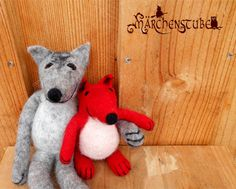 two felted friends - fox and wolf