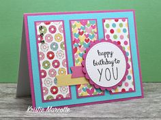 I'm using Doodlebug Design's Cream & Sugar collection to make cards using my Paper Pa. Kids Birthday Cards, Handmade Birthday Cards, Making Greeting Cards, Greeting Cards Handmade, Cricut Cards, Stampin Up Cards, Cute Cards, Easy Cards, Cards Diy