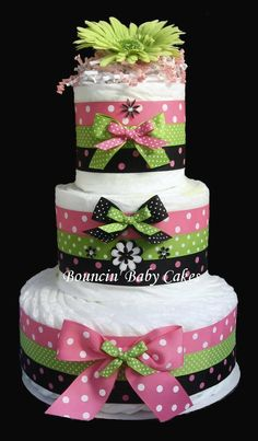 Retro Mommy (Pink, Green and Black)  Diaper Cake, Baby Shower Centerpiece. $65.00, via Etsy.