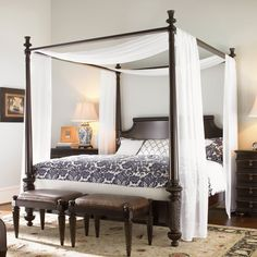 Furniture. black wooden Canopy Bed with white curtain added by double rectangle black wooden benches on the rug. Cozy Look Of Girl Wood Canopy Bed Showing Nice Idea