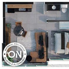 Life is on Mini Loft, Sims House Plans, House Floor Plans, Hotel Floor Plan, Interior Design Renderings, Studio Layout, Hotel Room Design, Small Apartment Design, Apartment Floor Plans