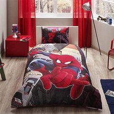 New Licensed Cotton Spiderman Duvet Cover Set Twin Size / Spiderman in City Single Duvet Cover Set 3 PCS - Twin Size Bedroom Sets, Kids Bedroom Sets, Bed Sets, Bed Duvet Covers, Duvet Cover Sets, Teen Boy Bedding, Single Duvet Cover, Bed Styling, Comforter Sets