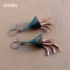 czaputo3 Wire Wrapped Earrings, Copper Earrings, Drop Earrings, Patina Color, Rustic Jewelry, Necklaces, Bracelets, Jewerly, Give It To Me