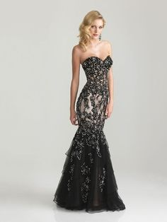 Black Backless Sweetheart Chiffon Beading Trumpet/Mermaid Prom Dresses in UK