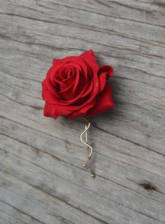 Wedding Flower Hair Clip-Real Touch Red Rose Hair by DexinFloral