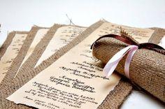 Einladungskarten-Hochzeit in Leinenstoff umwickeln Satinband