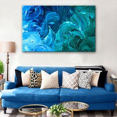 """Blue Spray Fantasy"" Hand Painted Abstract Oil Painting"