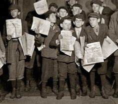 April 17, 1912, Washington DC. News of the Titanic and possible survivors. Photo by Lewis Wickes Hine