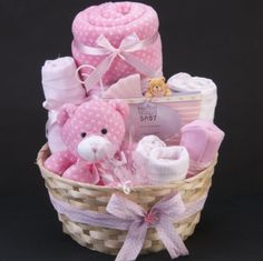 Baby Carriage Gift Hamper – Overflowing with gifts for the Baby Girl, this Basket makes an ideal Maternity/Shower Gift Welcome the Sweet Baby Girl with this nappy cake, which is full of essential baby items. All gifts used ar… Baby Girl Gift Baskets, Baby Gift Hampers, Baby Hamper, Baby Shower Gift Basket, Birthday Gift Baskets, Baby Girl Gifts, Baby Shower Gifts, Birthday Box, Halloween Birthday