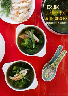 ❝Healing Chicken Soup (with Greens, Lemongrass and Ginger)❞  My Healing Chicken Soup with Greens, Lemongrass and Ginger is a tasty flu-fighting concoction that's ready to eat in less than 30 minutes, because when you're sick the last thing you want is standing around the stove. (Gluten-free, dairy-free, egg-free, nut-free, soy-free, Paleo).