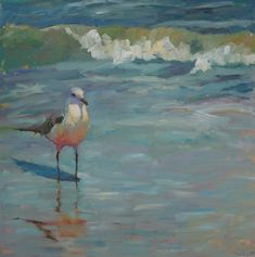 Ebb and Flow by susan hecht Oil ~ 36 x 36 Seascape Paintings, Animal Paintings, Bird Artwork, Coastal Art, Sea Birds, Beach Art, Landscape Art, Painting Inspiration, Painting & Drawing