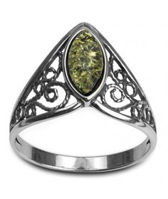 Sterling Silver Green Yellow Amber Celtic Lace Ring