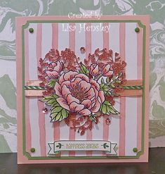 The new Blushing Bride glimmer paper is absolutely gorgeous!  I've never been a Blushing Bride fan, but it's beautiful with the Birthday Bouquet DSP and the glimmer paper.