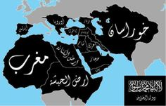 Pro-ISIS social media accounts have shared this map which shows an Islamic caliphate covering the Middle East, North Africa, and Spain.