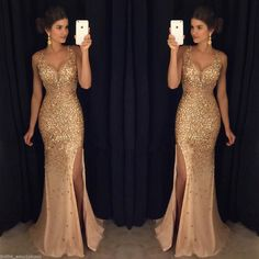 Nice New 2017 Gold Sequins Mermaid Evening Dresses Side Split Long Prom Party Gowns 2017 2018