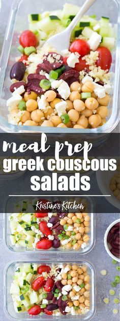 This Meal Prep Greek Couscous Salad is a healthy, vegetarian make ahead lunch. These lunch bowls are filled with healthy vegetables and chickpeas add protein! You can also serve this as a side salad at a BBQ. #mealprep #foodprep #lunch #healthylunch #heal
