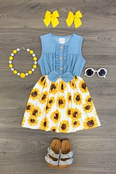 US Girls Dress Outfit Toddler Baby Kids Clothing Sunflower Denim Dress Baby Outfits, Little Girl Outfits, Little Girl Fashion, Toddler Girl Outfits, Baby Girl Dresses, Toddler Fashion, Spring Outfits, Kids Outfits, Kids Fashion