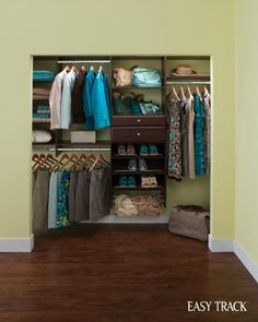 A reach-in closet organizer that offers a devoted place for everything! From EasyTrack