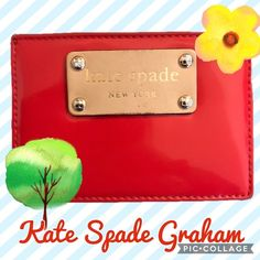 Kate Spade Red Graham Card Holder 🌶USED CONDITION • Gently used • Comes with dust bag • Accepting all reasonable offers  🌶DETAILS • Material: Patent Leather • Color: Red • Fits three credit cards and cash  Shows some signs of wear via scuffs and smudges, all pictured. kate spade Bags