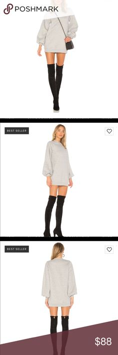 """Lovers and Friends Jessa sweatshirt dress amazing sweatshirt dress in charcoal (light gray) size xs. worn once. purchased from Revolve. shoulder seam to hem approx 30"""" in length. Lovers + Friends Dresses"""