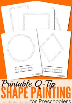 Practice fine motor skills and review shapes with your preschooler at the same time with these fun Q-Tip painting shape printables! Preschool Kindergarten, Shape Activities For Preschoolers, Q Crafts For Preschool, Preschool Fine Motor Skills, Shape Worksheets For Preschool, Kindergarten Shapes, Preschool Apples, Preschool Colors, Preschool Printables