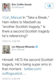 I may join Twitter just to get a sassy answer to serious question from Lin-Manuel Miranda
