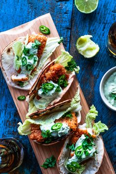 Spicy Fish Tacos with Avocado Dressing