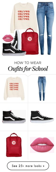 """""""School"""" by cholleemarie on Polyvore featuring Rebecca Minkoff, H&M, Vans, Fjällräven and Lime Crime"""