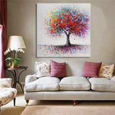 Hot Fashion Framed Colorful Tree Abstract Picture Canvas Print Paintings Home Wall Art Decor Abstract Pictures, Canvas Pictures, Colorful Trees, Colorful Decor, Art Mural, Mural Wall, Abstract Flowers, Home Decor Wall Art, Canvas Wall Art