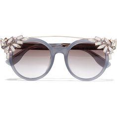 d0d78d558afe Jimmy Choo Vivy embellished round-frame acetate and gold-tone sunglasses