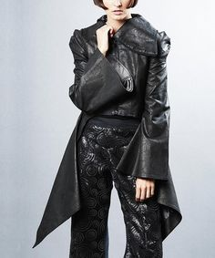 Look what I found on #zulily! Black Faux Leather Flare Sleeve Jacket by Nuvula #zulilyfinds