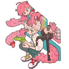 Art by 손털 Art Et Illustration, Character Illustration, Illustrations, Anime Chibi, Anime Art, Cartoon Kunst, Cartoon Art, Arte Sketchbook, Cute Art Styles