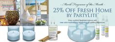 PartyLite Fragrance: Bluer Skies™Brighter Days™Greener Grass™Fragrance of the Monthfor March - 25% off.  PartyLite with Bernadette (719)505-3787 shop online at http://www.partylite.biz/bwiest
