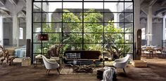 Glass wall, foliage, high ceiling - I would die for a place like this.