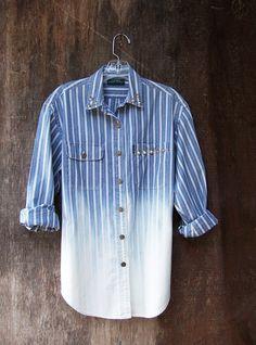 Studded denim shirt long sleeve tunic dip dye ombre bleached blue striped