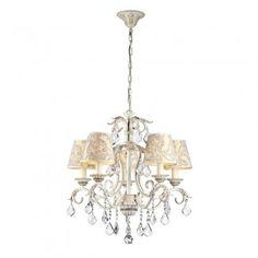 Lámpara de techo realizada en metal lacado en color crema, con detalles decorados a mano en oro. Originales pantallas en textil y colgantes de cristal facetado, completan esta llamativa lámpara de techo.