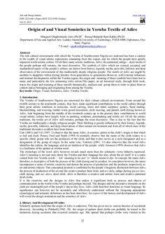 Origin of and visual semiotics in yoruba textile of adire Online Paper, African Grey Parrot, Human Soul, Textiles, History, The Originals, Abstract, Summary, Historia
