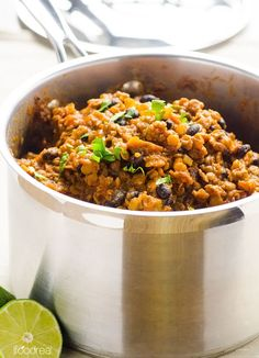 Smoky Lentil and Black Bean Chili -- Hearty delicious chili with a hint of lime and a heat kick. Perfect comforting winter meal with a slow cooker option for busy people. #cleaneating #vegan #glutenfree