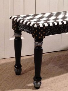 Hand Painted Black and White Farmhouse Bench by paintingbymichele,