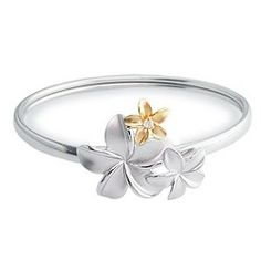 Yellow Gold and Sterling Silver Plumeria Bouquet Bangle with Diamond - Bracelets - Jewelry Type