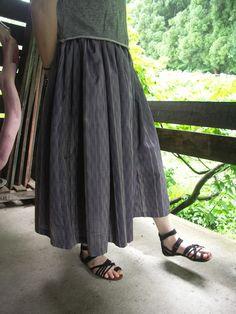 着物リメイク 正絹よろけ縞のロングギャザースカート