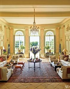 The Grand Salon of Château du Grand-Lucé overlooks the home's gardens, which…